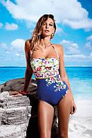 Мягкий сплошной купальник с цветком Miss Marea 18461 44 Синий MissMarea 18461