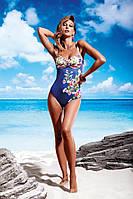 Мягкий цельный купальник с цветами Miss Marea 18463 50 Синий MissMarea 18463