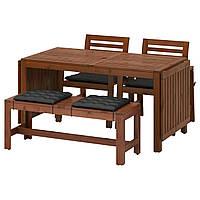 Cтол садовый раск+ 2 стула+скамья IKEA ÄPPLARÖ