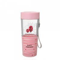 Бутылка со стаканом 622.1 пластиковая розового цвета