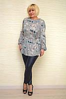 Блуза шифон шелк серая - Модель 1630