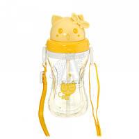 Детская бутылочка 48.2 котик пластиковая желтого цвета