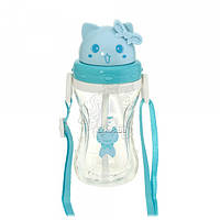 Детская бутылочка 48.8 котик пластиковая голубого цвета