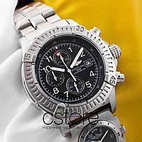 Мужские наручные часы Breitling navitimer silver black (05345)