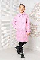 Деми куртка удлинённая для девочек,розовый