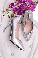 Женские туфли на шпильке с жемчугом на пяточке серебристые