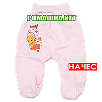 Ползунки (штаны) на широкой резинке с начесом р. 68 ткань ФУТЕР 100% хлопок ТМ Алекс 3180 Розовый А