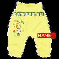 Ползунки (штаны) на широкой резинке  с начесом р. 74 ткань ФУТЕР 100% хлопок ТМ Алекс 3180 Желтый А
