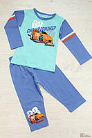 Пижама голубая с гоночной машиной для мальчика (92 см)  Pettino 2100000307487