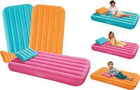 Детский надувной матрас 66801 Intex, подушка, 3 цвета, 157х88х18 см
