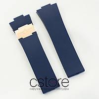 Каучуковый ремешок для часов Ulysse Nardin maxi marine blue gold (05691)