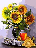Картины по номерам 40×50 см. Babylon Premium Мед и подсолнухи