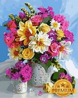 Раскраски для взрослых 40×50 см. Babylon Premium  Яркие цветы в большой и маленькой вазах