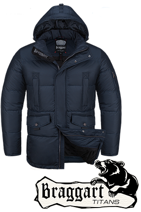 Мужская зимняя куртка-парка большого размера Braggart р.56-60 арт. 4405 темно-синий, фото 2