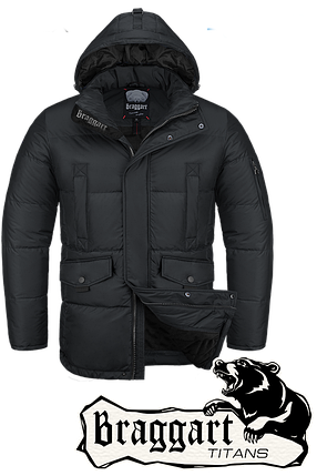 Мужская зимняя куртка-парка большого размера Braggart р.56-60 арт. 4405 черный, фото 2
