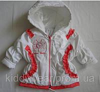 """Весенняя  куртка  для девочки """" Цветочек"""" Розовая р. 74, 80, 86"""