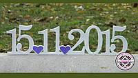 Дата свадьбы, надписи с фанеры.