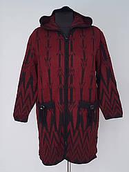 Пальто с капюшоном вязаное женское Индия