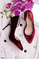 Женские туфли на шпильке Велюр бордо