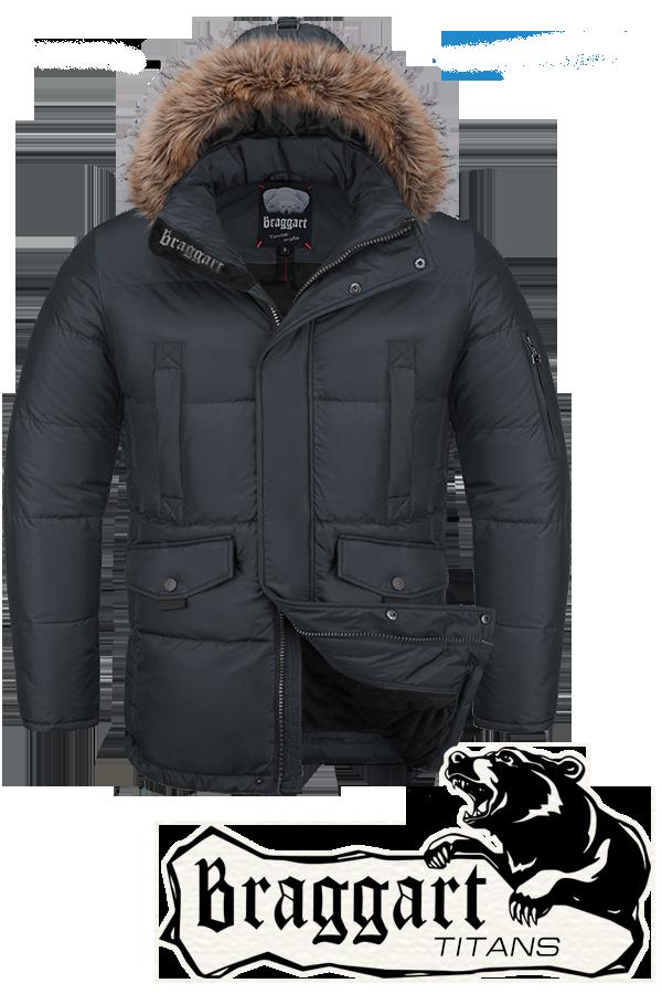 Мужская зимняя куртка-парка большого размера Braggart р.56-60 арт. 1805 графит