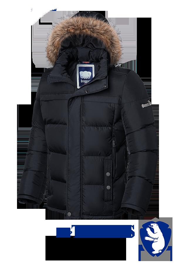 Мужская зимняя черная куртка больших размеров Braggart (р. 56-62) арт. 3617