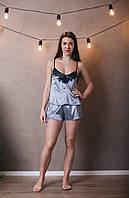 Пижама с шортиками шелковая. Цвет металлик