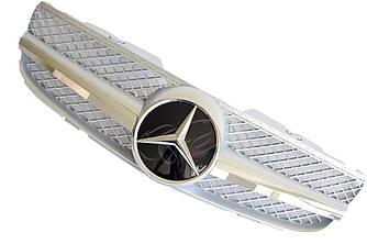 Решетка радиатора Mercedes SL R230 (06-08) стиль AMG (серебро + хром)