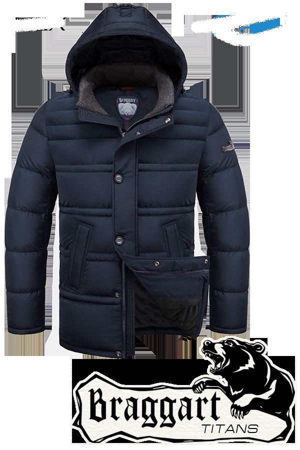 Мужская темно-синяя зимняя куртка батал Braggart (р. 56-60) арт. 2465