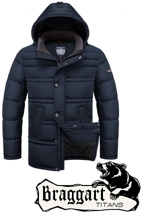 Мужская темно-синяя зимняя куртка батал Braggart (р. 56-60) арт. 2465, фото 2