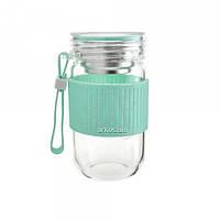 Бутылка 459.2 стеклянная с ситечком для заварки зеленого цвета