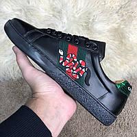Мужские кеды Gucci Snake Embroidered Sneaker Black , Копия