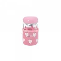 Бутылка 55.1 стеклянная с ситечком для заварки розового цвета