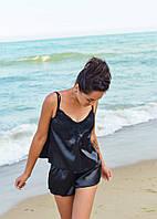 Пижама с шортиками шелковая. Цвет элегантный черный, фото 1
