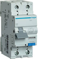 Дифференциальный автоматический выключатель 1P+N 6kA B-16A 10mA A HAGER