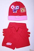 Комплект 3-ка (шапка,шарф,перчатки) для девочки розового цвета (56 см.)  Winx 8699049111123