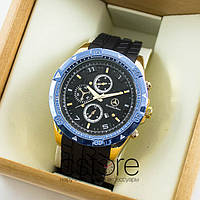 Мужские наручные часы Mercedes Benz gold black blue (06519)