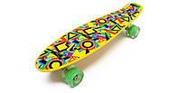 Penny Board 22' со светящимися колесами - Abstraction Lucky Alfa. Пенни Борд с нагрузкой до 80 кг.