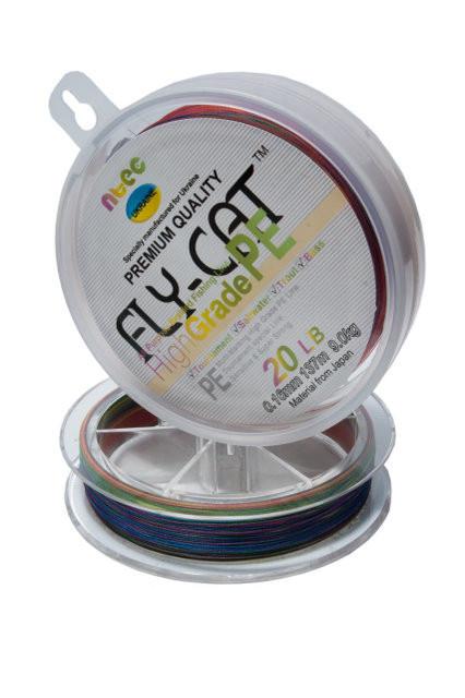 Шнур плетений NTEC Fly-Cat Multicolor 137м, Ø0.14мм, 6.8 кг
