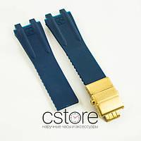 Каучуковый ремешок для часов Ulysse Nardin el toro dual time blue c застежкой gold (06755)