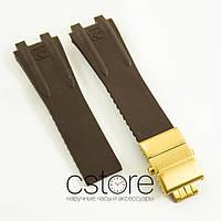 Каучуковый ремешок для часов Ulysse Nardin el toro dual time brown c застежкой gold (06758)