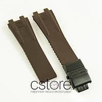 Каучуковый ремешок для часов Ulysse Nardin el toro dual time brown c застежкой black (06759)