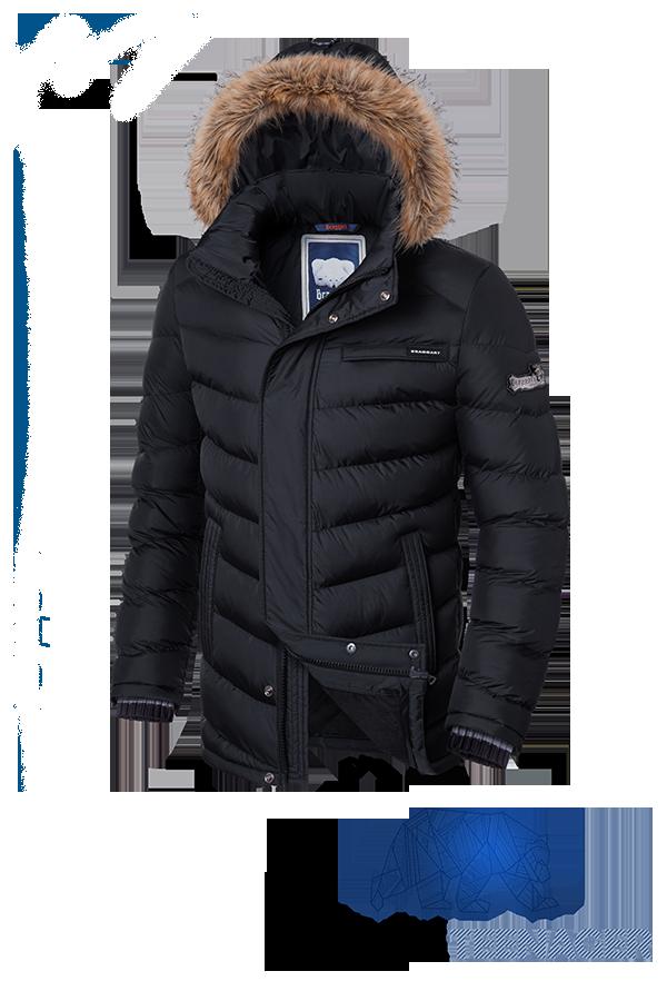 Подростковая черная куртка с мехом Braggart Teenager (р. 40-46) арт. 7723
