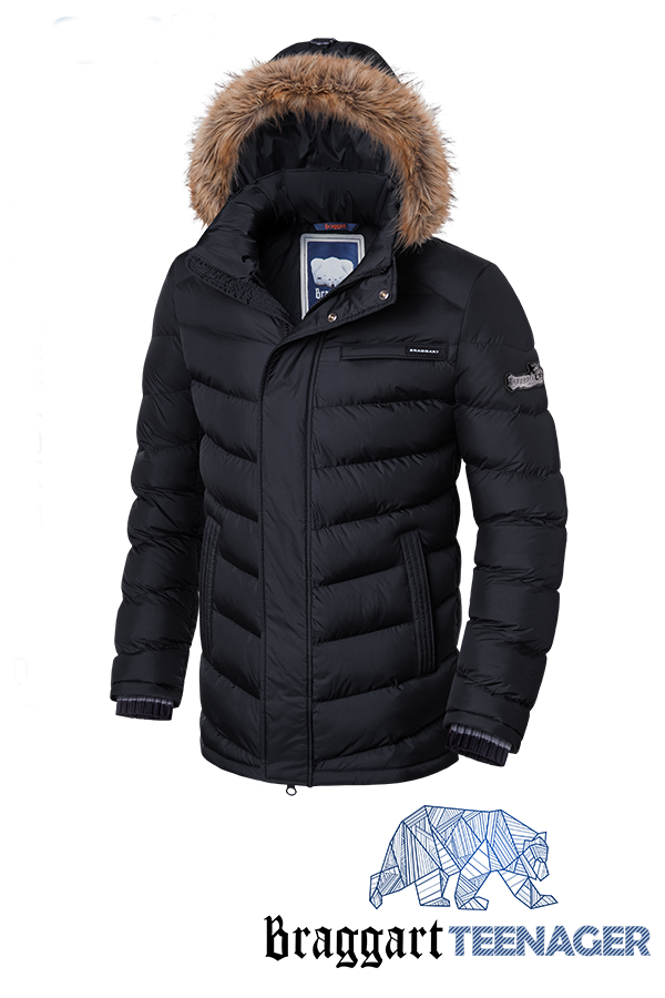 Черная зимняя куртка на подростка Braggart Teenager (р. 38-46) арт. 7223