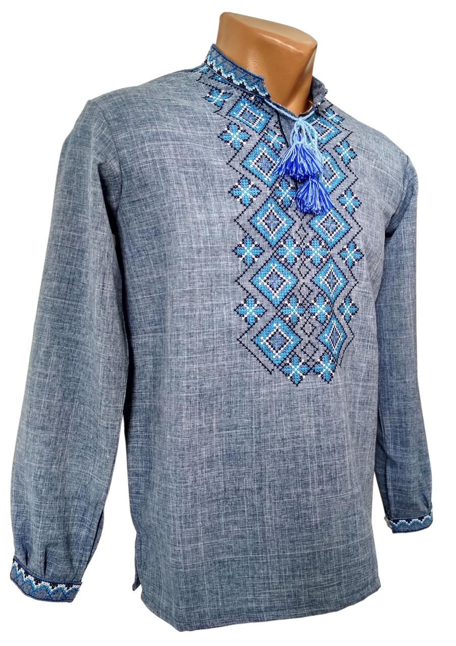 Вишита чоловіча сорочка із блакитним геометричним орнаментом