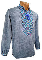 Вишита чоловіча сорочка із блакитним геометричним орнаментом , фото 1