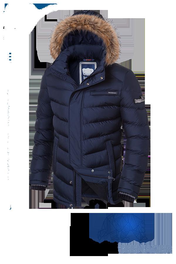 Подростковая темно-синяя куртка с мехом Braggart Teenager (р. 40-46) арт. 7723