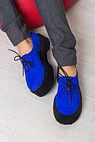 Туфли  женские  натуральная замша/кожа на шнурках,низкий ход