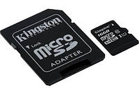 Карта памяти Kingston microSDHC UHS-I 45R 16GB class 10 + SD , фото 1