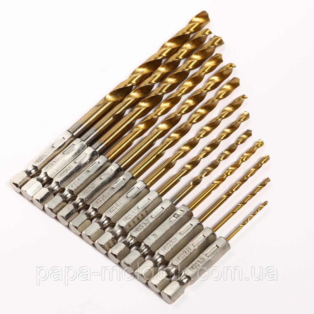 Набор сверл по металлу 13 шт диаметр 1,5-6,5 мм с шестигранным хвостовиком 1/4