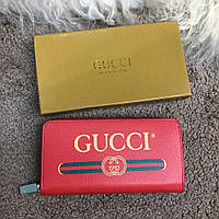 Кошелек Gucci Wallet Print Logo Zip Around Red